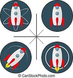 set of four logos with rocket