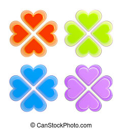 Set of four luck and love symbols isolated