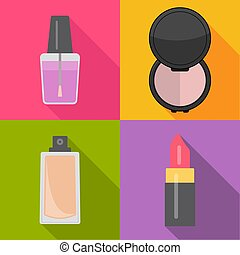 Set of four makeup items in flat style