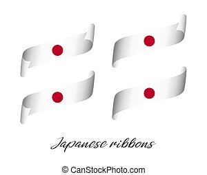 Set of four modern color vector ribbons in Japanese colors isolated on white background, Japanese flag, Japanese ribbon, Made in Japan