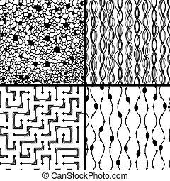 Set of four monochrome geometrical patterns