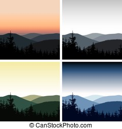 four mountain landscapes