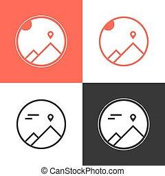 set of four mountaineering logos