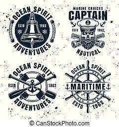 Set of four nautical vintage vector emblems