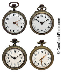 set of four old pocket watches, isolated with clipping path