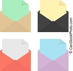 set of four open colored envelopes