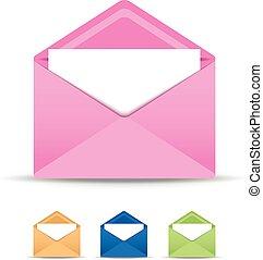 set of four open envelopes