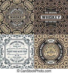 Set of four ornate vintage labels, vector illustration. Old fashioned backgrounds with typography. Engraving style ornaments and wallpapers. Retro elements for your design