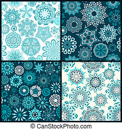 Set of four ornated floral seamless texture, endless pattern with flowers looks like retro snowflakes or snowfall. Can be used for wallpaper, pattern fills, web page background, surface textures