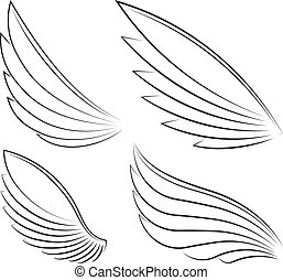 Set of four outlined stroke vector wings