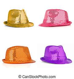 Set of four paillette hats