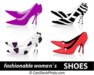 fashionable women`s shoes - Set of four pairs fashionable...