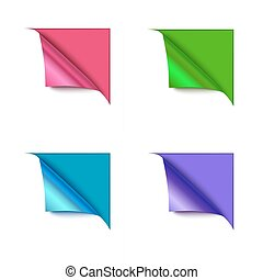 Set of four paper corner folds isolated on color background.