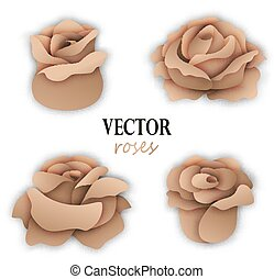 Set of four paper golden roses