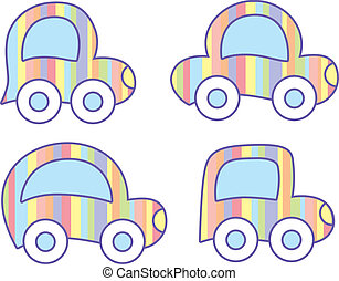 pastel cars - set of four pastel cars on white background