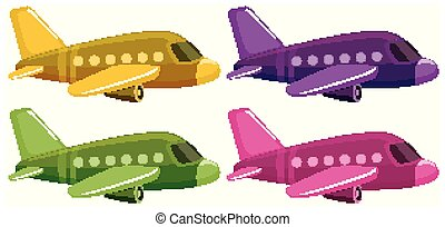 Set of four pictures of airplane in different color