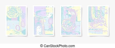 set of four pieces blank A4 sheet contemporary abstract painting