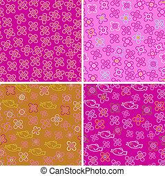 Set of four pink patterns