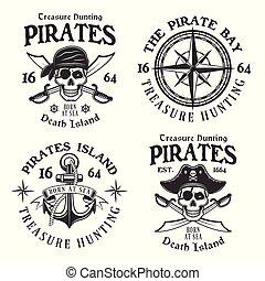 Set of four pirates vintage vector emblems, labels