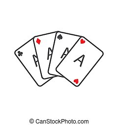 Set of four playing cards aces. Winning poker hand.