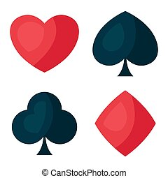 Set of four playing cards symbols.