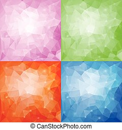 Set of four polygonal backgrounds