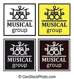 set of four posters of different colors for the musical group