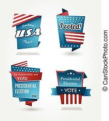 Set of four presidential election badges.