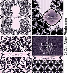 Set of four purple invitations with floral background