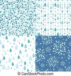 Vector set of four raindrops seamless patterns backgrounds with silhouette elements