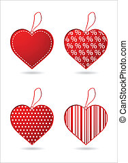 Set of four red hearts with special design