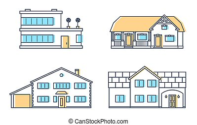 Set of four residention houses. Living cottage set. Apartament building. Home facade with doors and windows.