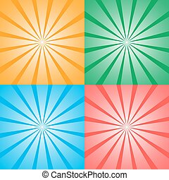 Set of four retro background illustration