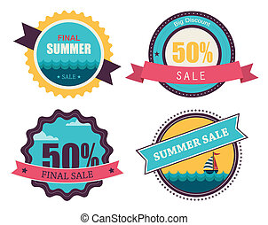 set of four retro labels for summer sale