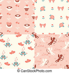 Set of four romantic seamless pattern.