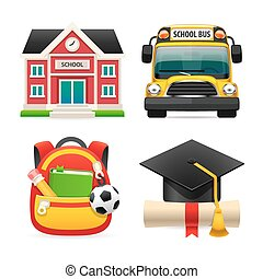 Set of Four School Icons