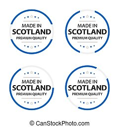 Set of four Scotch icons, English title Made in Scotland, premium quality stickers and symbols, internation labels with stars, simple vector illustration isolated on white background