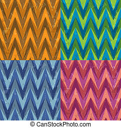 Set of Four Seamless Color Abstract Retro Vector Backgrounds