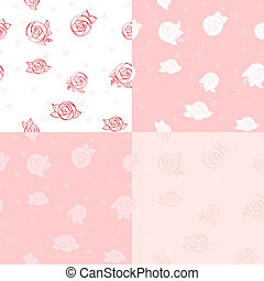 Set of four seamless floral pattern