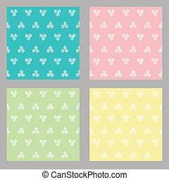 set of four seamless flower background