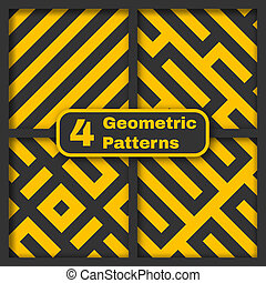 Set of four seamless geometrical vector patterns