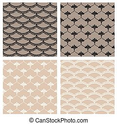 Set of four seamless lace patterns