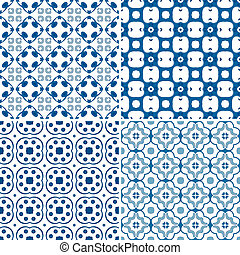 Set of four seamless pattern illustration in blue and white - like Portuguese tiles