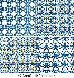 Portuguese tiles - Set of four seamless pattern illustration...