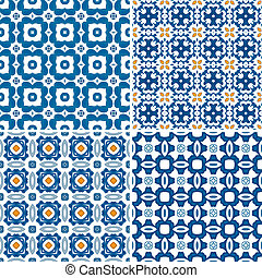 Set of four seamless pattern illustrations in blue and orange - like Portuguese tiles