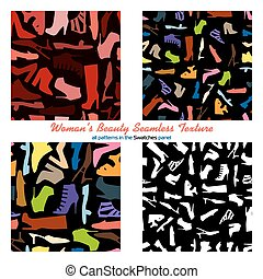 Set of four seamless pattern - woman shoes