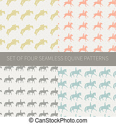 Set of four seamless patterns with