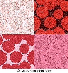 Set of four seamless red floral pattern