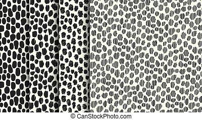 Set of four seamless stylized animal skin textures