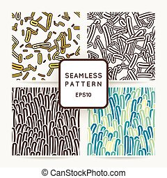 Set of four seamless vector patterns of amoebae and other...